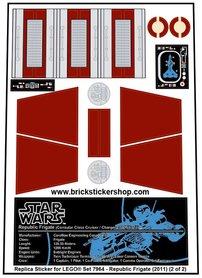 Precut Custom Replacement Stickers for Lego Set 7964 - Republic Frigate (2011)
