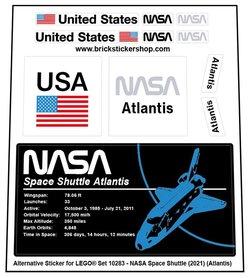 Alternative Custom Sticker for LEGO set 10283 - NASA Space Shuttle Atlantis (2021)