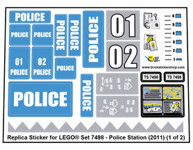 Precut Custom Replacement Stickers for Lego Set 7498 - Police Station (2011)