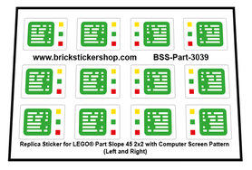 Replica Stickers for Lego part 3039 - Slope 45 2x2 with computer Screen Pattern