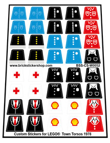 Custom Stickers for LEGO® Town Torsos (1978)
