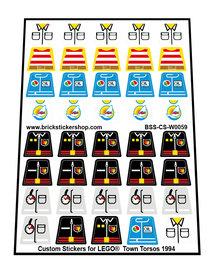Custom Stickers for LEGO® Town Torsos (1994)