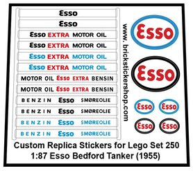 Precut Custom Replacement Stickers for Lego Set 250 - 1:87 Esso Bedford Tanker (1955)