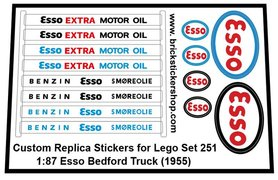 Precut Custom Replacement Stickers for Lego Set 251 - 1:87 Esso Bedford Truck (1956)