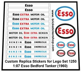 Precut Custom Replacement Stickers for Lego Set 1250 - 1:87 Esso Bedford Tanker (1960)