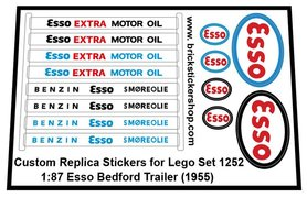 Precut Custom Replacement Stickers for Lego Set 1252E - 1:87 Esso Bedford Trailer (1955)
