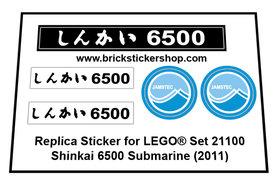 Precut Custom Replacement Stickers for Lego Set 21100 - Shinkai 6500 Submarine (2011)