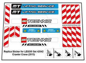 Precut Custom Replacement Stickers for Lego Set 42042 - Crawler Crane (2015)