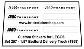 Precut Custom Replacement Stickers for Lego Set 257 - 1:87 Bedford Delivery Truck (1958)
