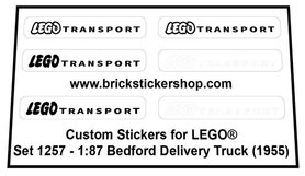 Precut Custom Replacement Stickers for Lego Set 1257 - 1:87 Bedford Delivery Truck (1958)