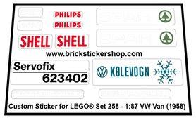 Precut Custom Replacement Stickers for Lego Set 258 - 1:87 VW Van (1958)