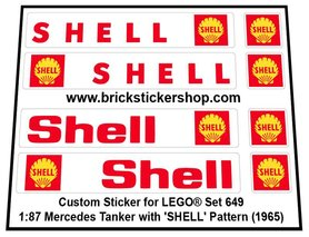 Precut Custom Replacement Stickers for Lego Set 649 - 1:87 Mercedes Tanker (Shell) (1965)