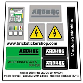 Precut Custom Replacement Stickers for Lego Set 4000001- Moulding Machines (2011)