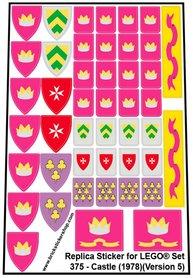 Precut Custom Replacement Stickers for Lego Set 375 - Castle (1978) (Version 5)