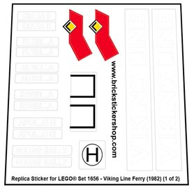 Precut Custom Replacement Stickers for Lego Set 1656 - Viking Line Ferry (1982)