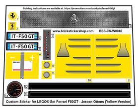 Precut Custom Stickers for LEGO MOC Ferrari F50GT by Jeroen Ottens (Yellow Version)