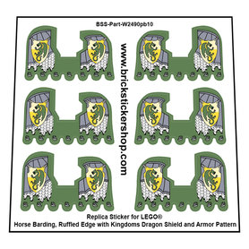 Precut Custom Stickers for Lego Horse Barding, Ruffled Edge with Kingdoms Dragon Shield and Armor Pattern