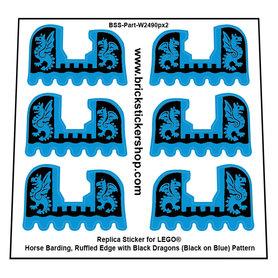 Precut Custom Stickers for Lego Horse Barding, Ruffled Edge with Black Dragons (Black on Blue) Pattern