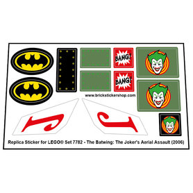 Precut Custom Replacement Stickers for Lego Set 7782 - The Batwing: The Joker's Aerial Assault