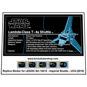 Precut Custom Replacement Stickers for Lego Set 10212 - Imperial Shuttle - UCS (2010)