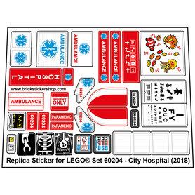 Precut Custom Replacement Stickers for Lego Set 60204 - City Hospital