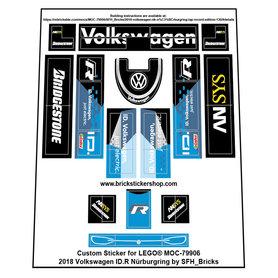 Precut Custom Stickers for LEGO Rebrickable MOC 79906 - Volkswagen ID.R Nürburgring