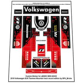 Precut Custom Stickers for LEGO Rebrickable MOC 80432 - Volkswagen ID.R  (Tianmen Version)