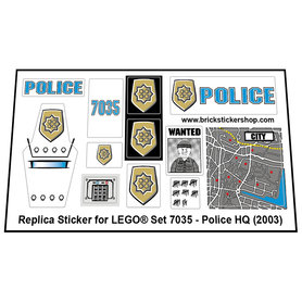Precut Custom Replacement Stickers for Lego Set 7035 - Police HQ