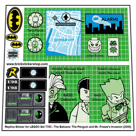 Precut Custom Replacement Stickers for Lego Set 7783 - The Batcave: The Penguin and Mr. Freeze's Invasion (2006)