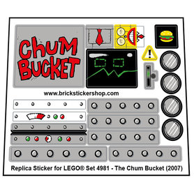 Precut Custom Replacement Stickers for Lego Set 4981 - The Chum Bucket (2007)