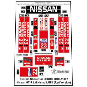 Precut Custom Stickers for LEGO Rebrickable MOC 71342 - Nissan GT-R LM Nismo LMP1 (Red Version)