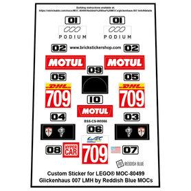 Precut Custom Stickers for LEGO Rebrickable MOC 80499 - Glickenhaus 007 LMH by Reddish Blue MOCs