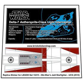 Precut Custom Replacement Stickers for Lego Set 10215 - Obi-Wan's Jedi Starfighter - UCS (2010)