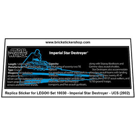 Precut Custom Replacement Stickers for Lego Set 10030 - Imperial Star Destroyer - UCS (2002)
