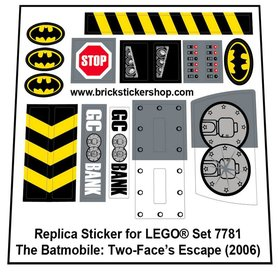 Precut Custom Replacement Stickers for Lego Set 7781 - The Batmobile: Two-Face's Escape (2006)