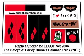 Precut Custom Replacement Stickers for Lego Set 7886 - The Batcycle: Harely Quinn's Hammer Truck (2008)