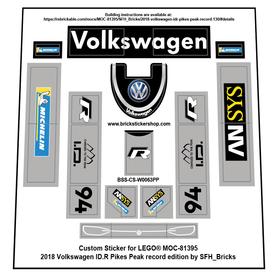 Precut Custom Stickers for LEGO Rebrickable MOC 81395 - Volkswagen ID.R  (Pikes Peak Version)