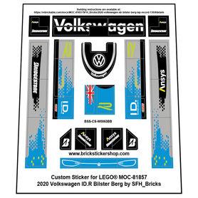 Precut Custom Stickers for LEGO Rebrickable MOC 81857 - Volkswagen ID.R  (Bilster Berg Version)