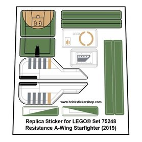 Precut Custom Replacement Stickers for Lego Set 75248 - Resistance A-Wing Starfighter (2019)