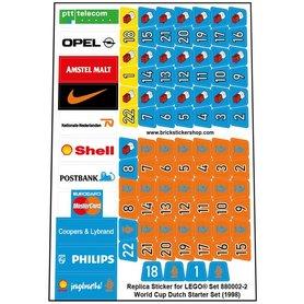 Precut Custom Replacement Stickers for Lego Set 880002 - World Cup Dutch Starter Set (1998)