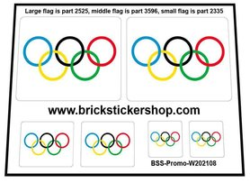 Precut Custom Stickers for LEGO Flags - Olympic Flag