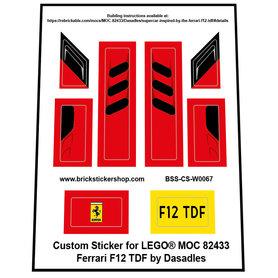 Precut Custom Stickers for LEGO Rebrickable MOC 82433 - Ferrari F12 TDF by Dasadles