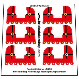 Precut Custom Stickers for Lego Horse Barding, Ruffled Edge with Fright Knights Pattern