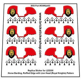 Precut Custom Stickers for Lego Horse Barding, Ruffled Edge with Lion Head (Royal Knights) Pattern