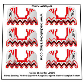 Precut Custom Stickers for Lego Horse Barding, Ruffled Edge with Knights Kingdom Vladek Scorpion Pattern