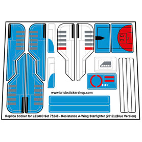 Precut Custom Replacement Stickers for Lego Set 75248 - Resistance A-Wing Starfighter (2019) (Blue Version)