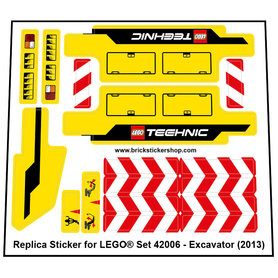 Precut Custom Replacement Stickers for Lego Set 42006 - Excavator (2013)