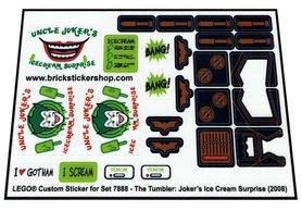 Precut Custom Replacement Stickers for Lego Set 7888 - The Tumbler - Joker's Ice Cream Surprise (2008)