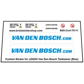 Precut Custom Stickers for LEGO  - Van den Bosch Tanktainer (Blue)
