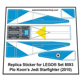Precut Custom Replacement Stickers for Lego Set 8093 - Plo Koon's Jedi Starfighter (2010)